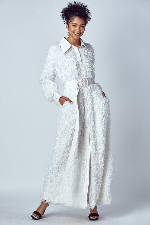 Faux Ostrich Fur Maxi Coat W/ Faux Leather Belt