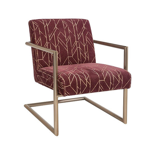 Sled Legs Accent Chair Wine And Rose Brass