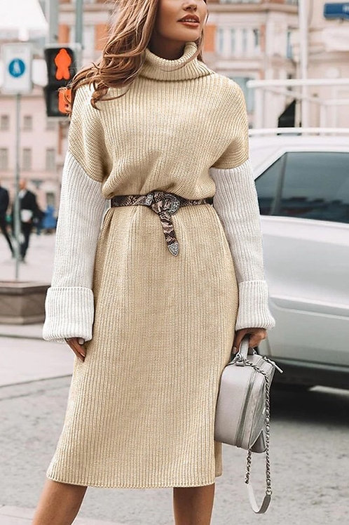 Turtleneck Patchwork Dress