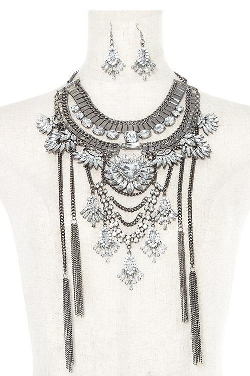 Crystal Gem Ornate Tiered Chain Bib Necklace