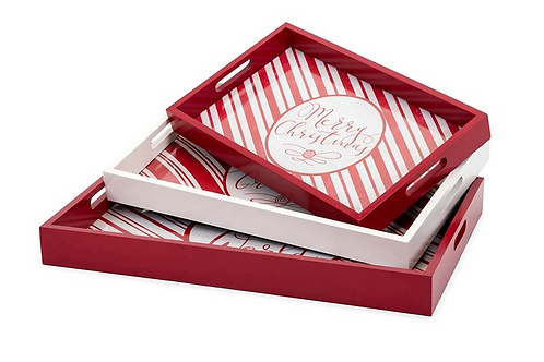 Christmas Candy Strip Trays - Set of 3