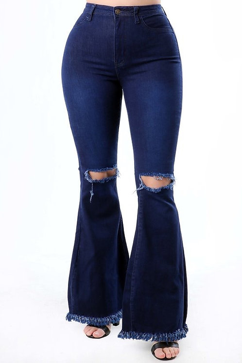 High Waist Button Demin Jean