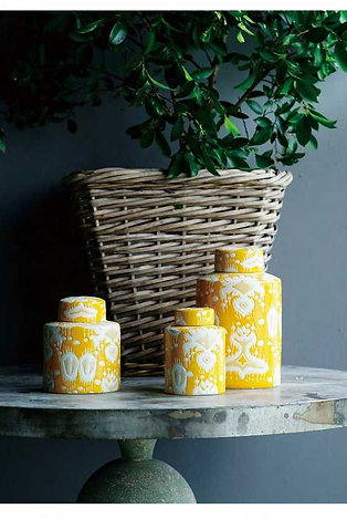 Yellow Ikat Lidded Jar