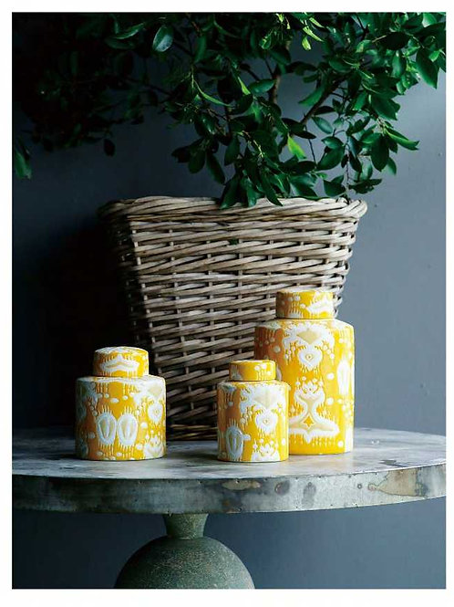 Yellow Ikat Lidded Jar