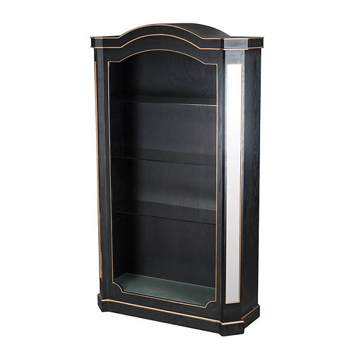 Vintage Glamour Black and Gold Mirrored Bookcase
