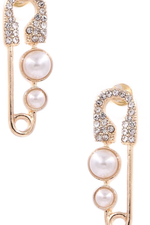 Safety Pin Cream Pearl Earrings