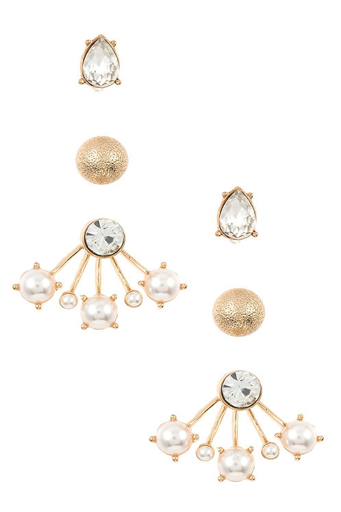 Gem And Pearl Accent Post Earring Set