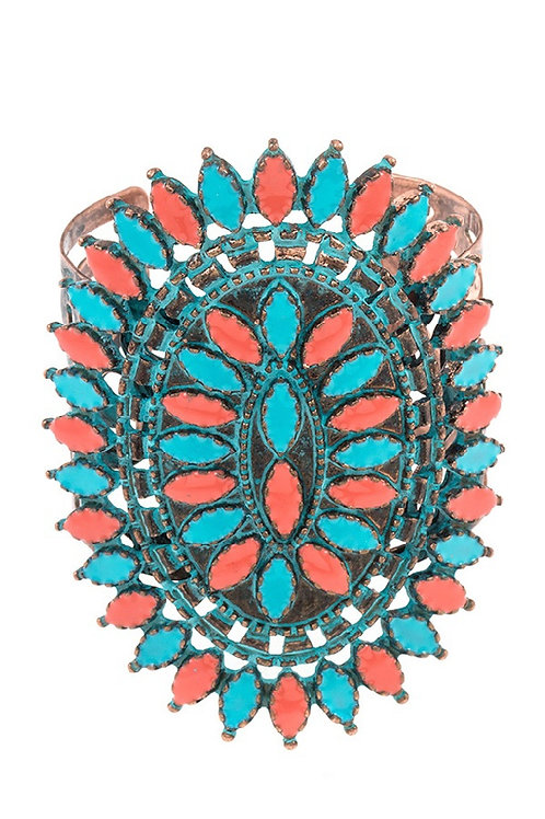 Dotted Etched Gem Ornate Cuff Bracelet