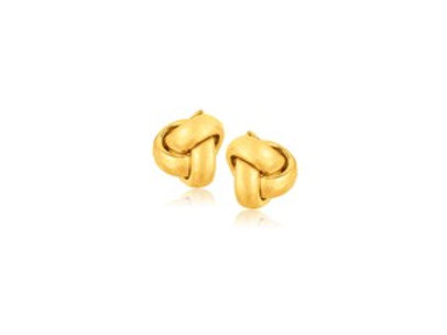 Love Knot Stud Earrings in 14K Yellow Gold