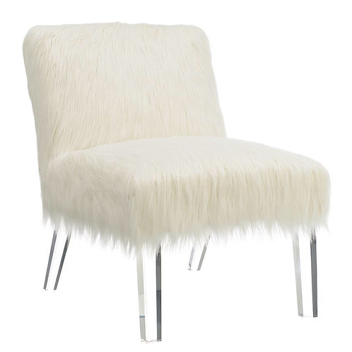 Faux Sheepskin Upholstered Accent Chair White