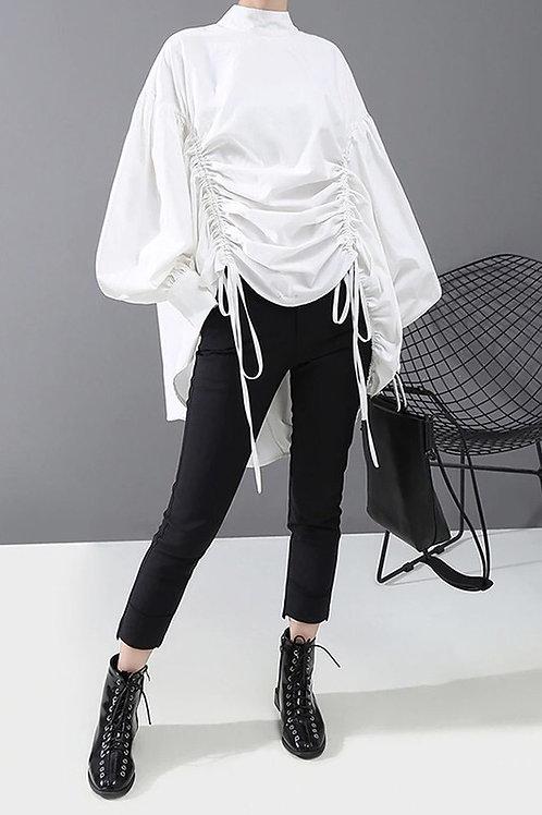 Women Solid Blouse Shirt W/ Draped Design