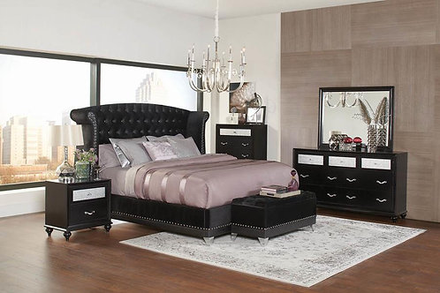 Barzini Tufted Upholstered Bed Black