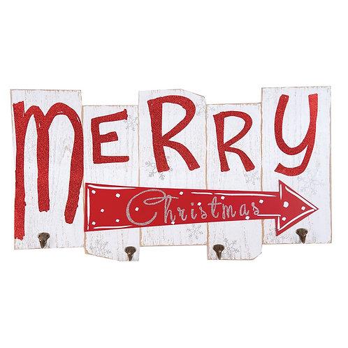 Merry Christmas Sign W/ Hooks