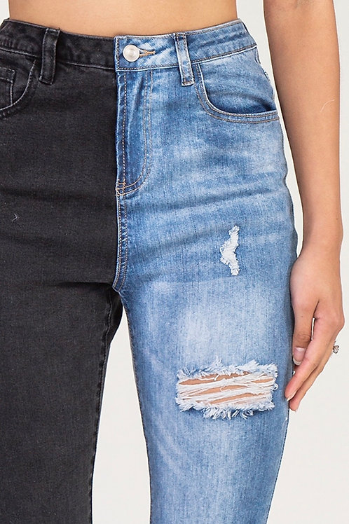 Half Contrast Distressed Denim Jean