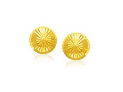 Diamond Cut Flat Stud Earrings in 14K Yellow Gold