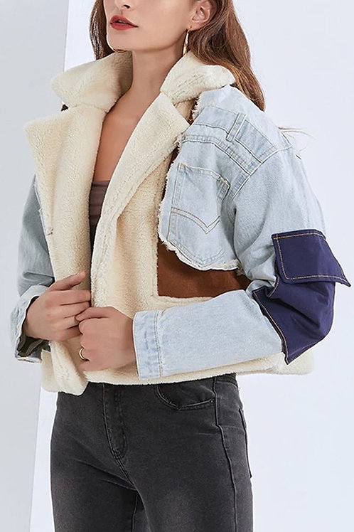 Casual Lambs Wool Patchwork Denim Jacket