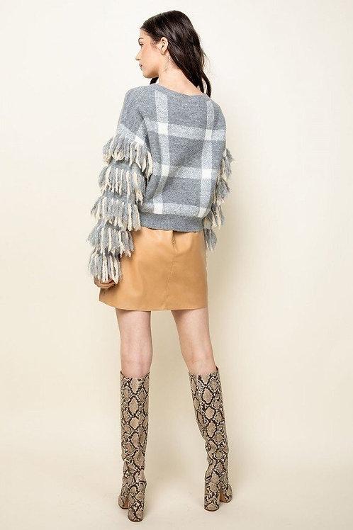 Checkered Tassel Sleeve Sweater