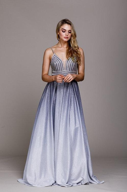 Jeweled V-Neckline Long Prom Dress