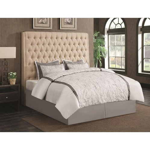 Camille Button Tufted Bed Cream, Brown, Grey