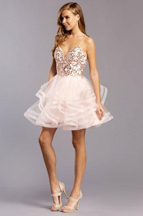 Jeweled Spaghetti Straps Short Prom Dress