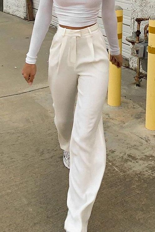 Casual White High Waist Long Trousers