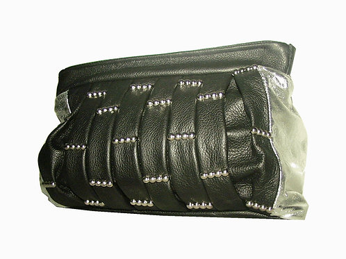 Double Up Pleated Leather Clutch