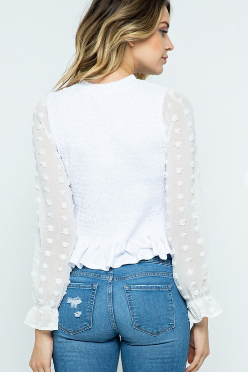 Smocking Top With Contrasting Sleeve
