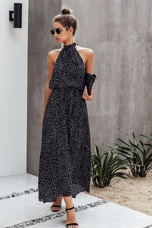 Long Polka Dot Halter Dress
