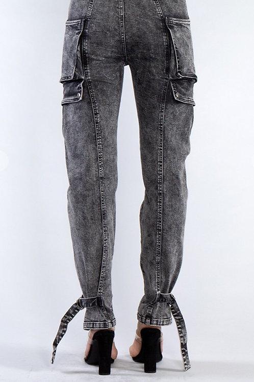 Oversize Pocket Tied Ankle Denim Jeans
