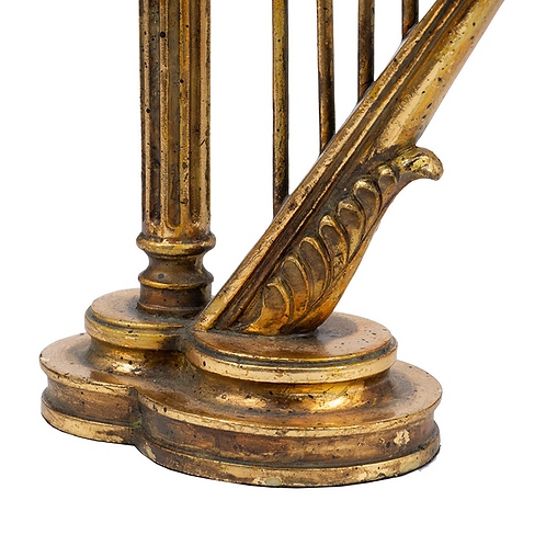 S/2 Antique Gold Harp Candle Holder