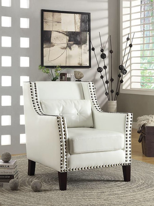 Upholstered Accent Chair With Nailhead Trim White