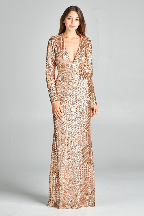 Long Sleeve Sequin Gown