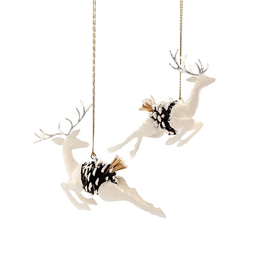 Pinecone Reindeer Ornament, A/2