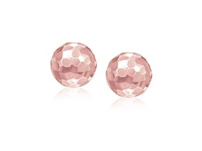 Faceted Round Stud Earrings in 14K Rose Gold