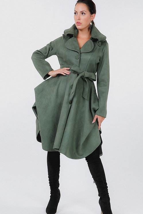 Button Tacking Collar A Line Suede Coat