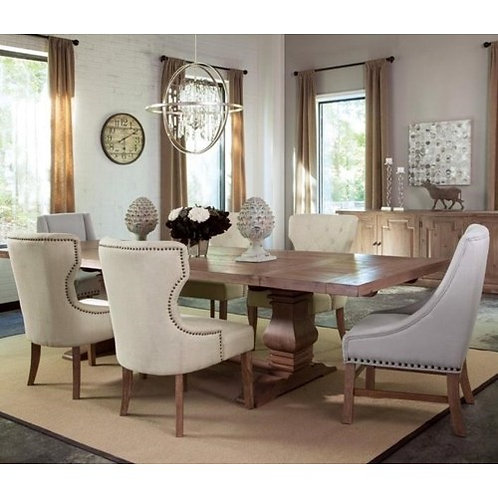 Florence Rectangular Table and Upholstered Chair Set 7pc