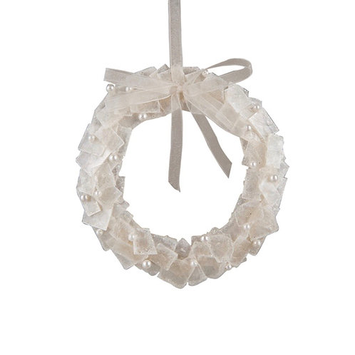 Pearlized White Wreath Ornament