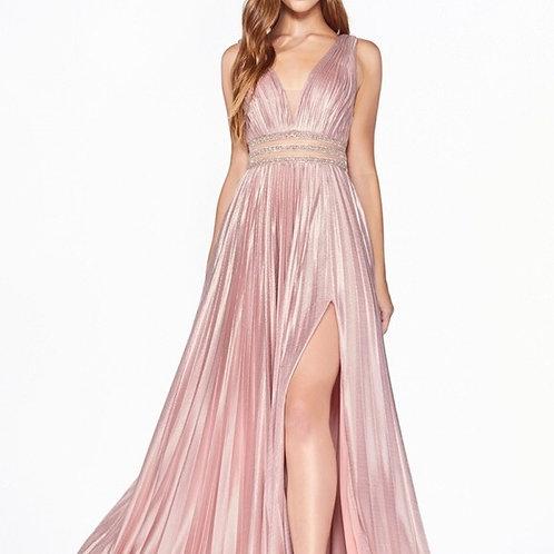 Illusion V-Neckline Prom Long Dress