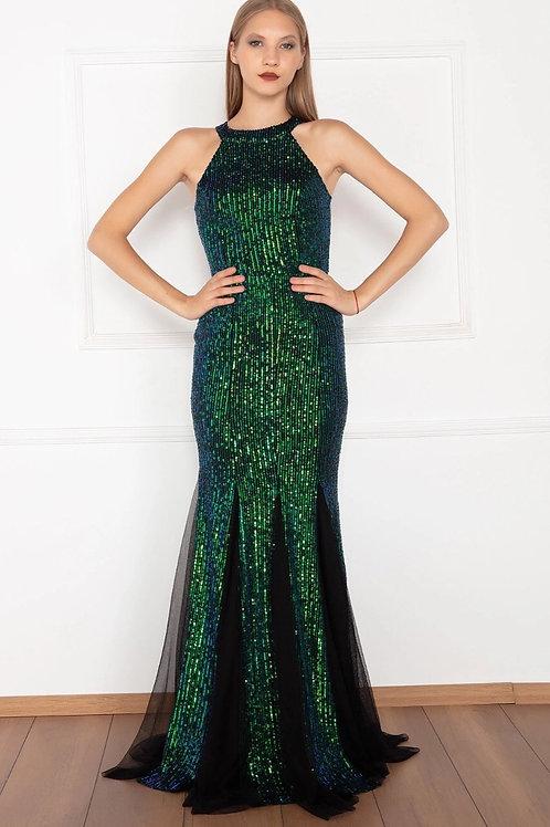 Halter Neckline Sequinned Bodice Sleeveless Long Prom Dress