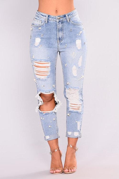 Pearl Distressed Boyfriend Jeans