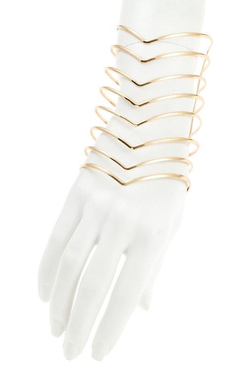 Chevron Pattern Cage Cuff Bracelet