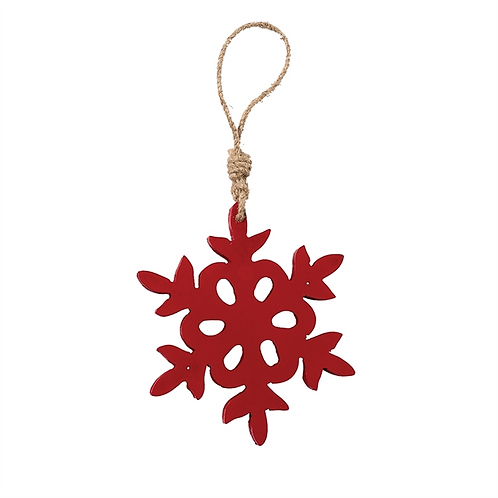 Small Red Carved Snowflake Ornament