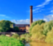Powick Mills from the river Teme