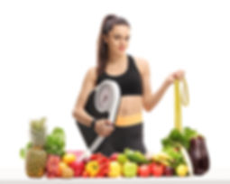 Hypnotherapy for Weight Loss Stirling - Scales and Lots of Healthy Foods