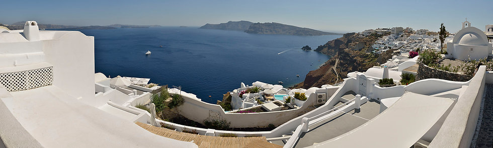 Santorini and Caldera in Afternoon