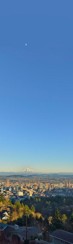 Portland with Moon Over Mt Hood