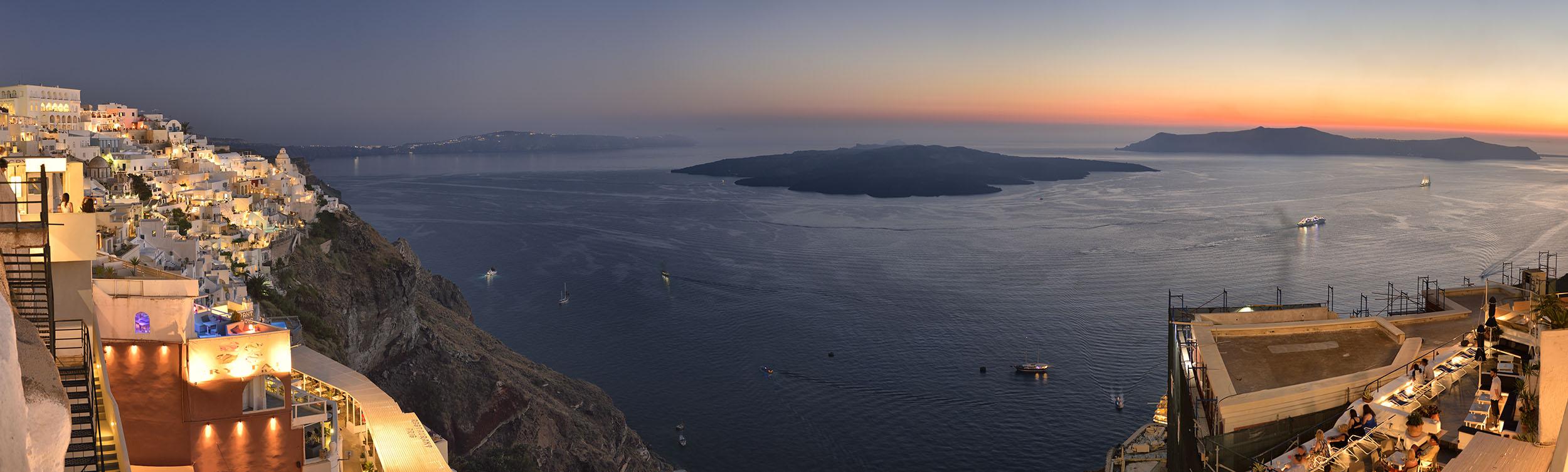 Night overlooking Santorini Caldera