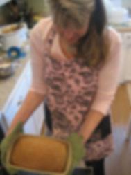 Dianna showing bread.JPG