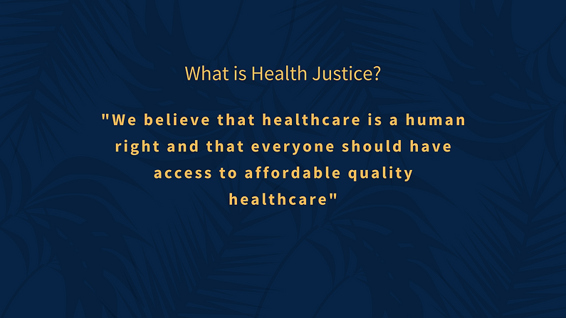 What is Health Justice? We believe that healthcare is a human right and that eveyone should have access to affordable quality healthcare.