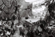 Prayer flags at the site of a revered juniper tree, 2012. The tree has since been swept away in freak flood waters.